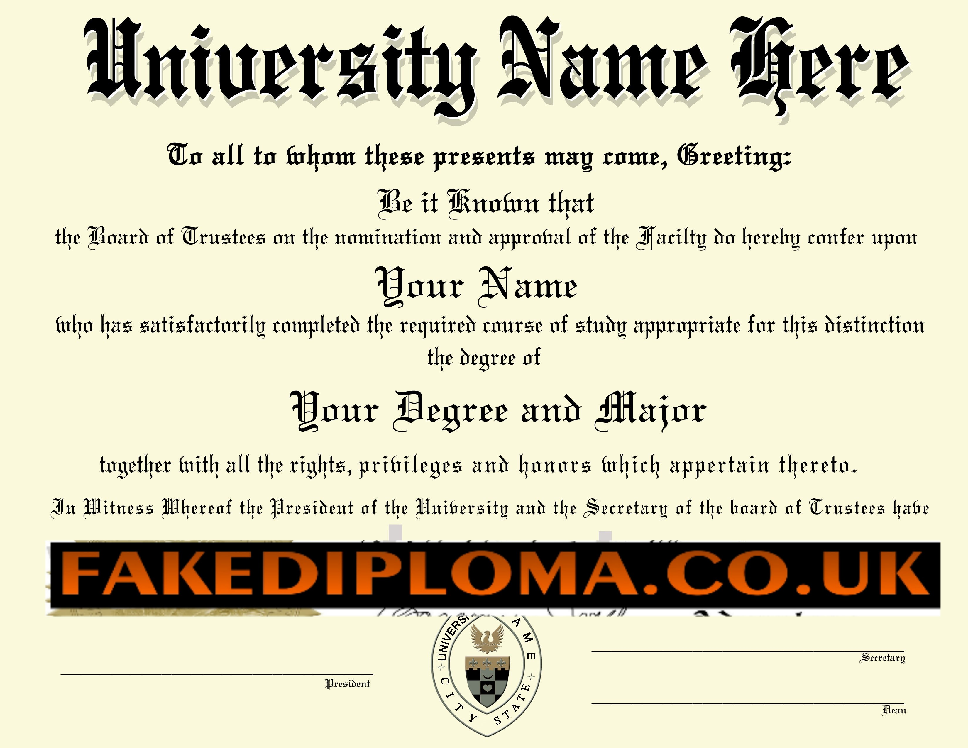 REAL FAKE DIPLOMA  UNIVERSITY DEGREE  COLLEGE DEGREES Intended For Fake Diploma Certificate Template